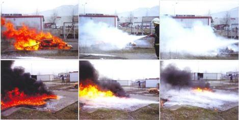 Тушение различных очагов пожара с применением установки ROTFIRE.